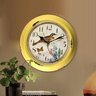 Adeco Khaki Yellow Iron Vintage-inspired Bird and Flower Circular Wall-hanging Clock