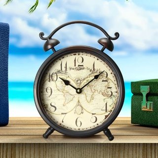 Adeco Vintage-Style Brown Iron Alarm Clock Style World Map Design Hanging or Table Clock