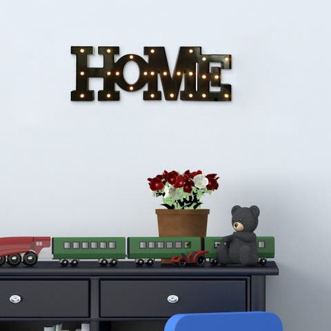 Adeco Black LED HOME Letter Wall Hanging (without battery)