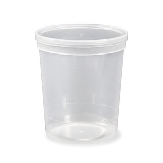 ePackageSupply 1/4-gallon (32 oz.) Tall Round Clarified Food-grade Container With Lid (Pack of 10 or 25)