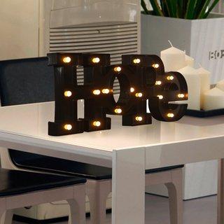 Adeco Black Plastic LED 'HOPE' Sign