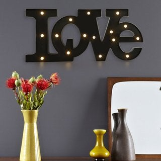 Adeco 'Love' Black Battery Operated LED Letter Wall Decor