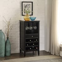 Black Finished Wood 12 Bottle Wine Cabinet