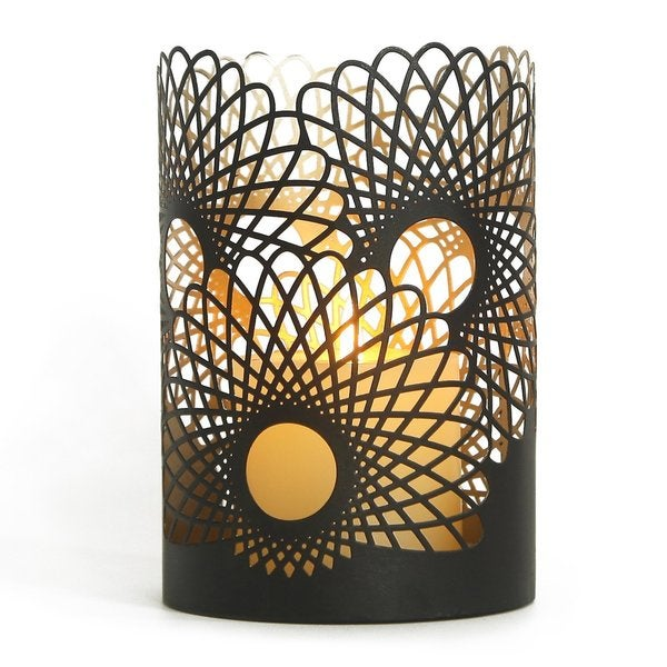 Adeco Black Metal 2017 Modern Contemporary Flower Pattern Candleholder