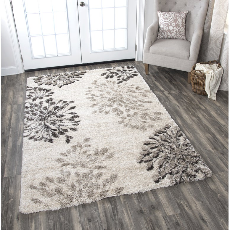 Midnight Cream Floral Area Rug (710 x 106) - 710 x 106 (710 x 106 - Cream/Beige)