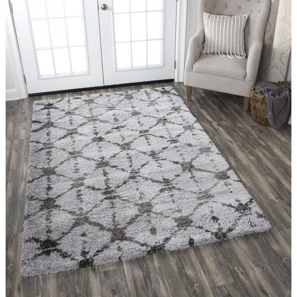 Adana Dark Grey Diamond/Geometric Area Rug (7'10 x 10'6)