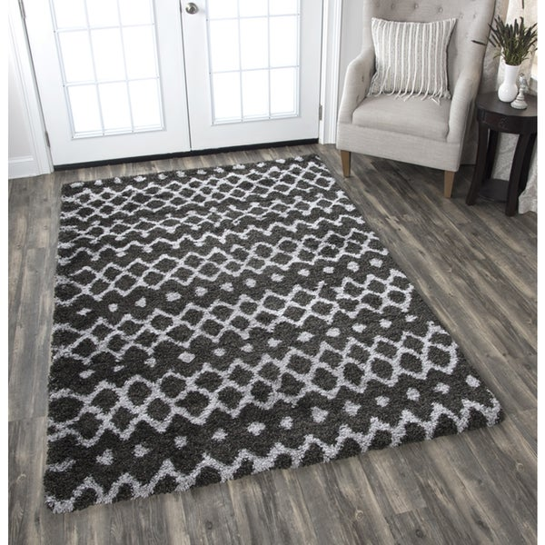 Adana Charcoal Grey Geometric Area Rug (7'10 x 10'6)