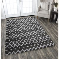 "Adana Charcoal Grey Geometric Area Rug - 7'10"" x 10'6"""