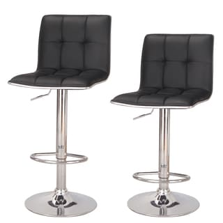 Adeco Tufted Leatherette Chrome Adjustable Barstool (Set of 2)
