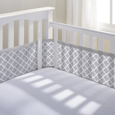 BreathableBaby Gray Clover Breathable Mesh Printed Crib Liner