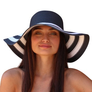 Palms & Sand St. Tropez Womens Striped Floppy Sun Hat