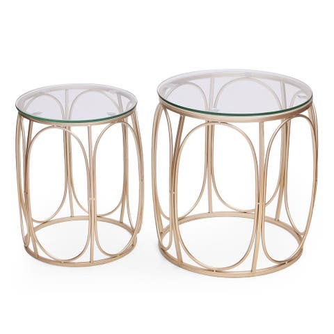 Adeco Classic Goldtone Nesting Side Table (Set of 2)