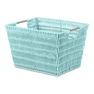 Whitmor Rattique Sea Blue Small Storage Tote