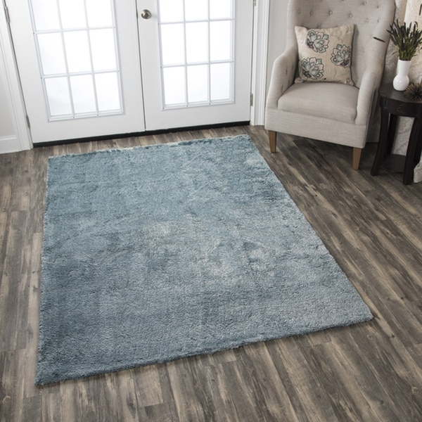 Hand Tufted Calgary Blue Polyester Solid Area Rug 7 X27 X 10