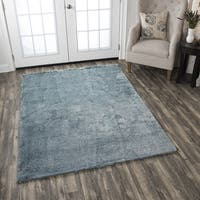 Hand-Tufted Calgary Blue Polyester Solid Area Rug (7' x 10')