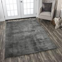 Calgary Hand-tufted Super Soft Shag Dark Grey Solid Area Rug (7' x 10') - 7' x 10'
