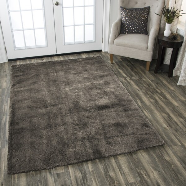 Calgary Hand-tufted Super Soft Shag Brown Solid Area Rug (7' x 10')