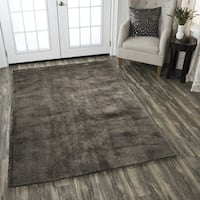 Calgary Hand-tufted Super Soft Shag Brown Solid Area Rug - 5' x 7'