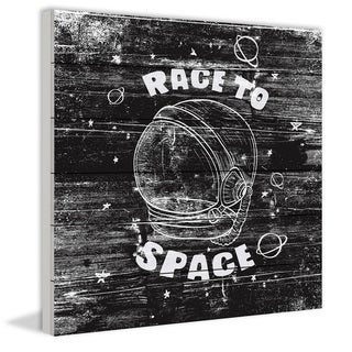 Marmont Hill - Handmade Race to Space Painting Print on White Wood
