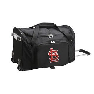 Denco St. Louis Cardinals Black Nylon 22-inch Carry-on Rolling Duffel Bag
