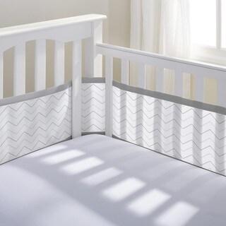 BreathableBaby Grey Chevron Breathable Mesh Printed Crib Liner