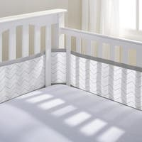 BreathableBaby Grey Chevron Breathable Mesh Printed Crib Liner