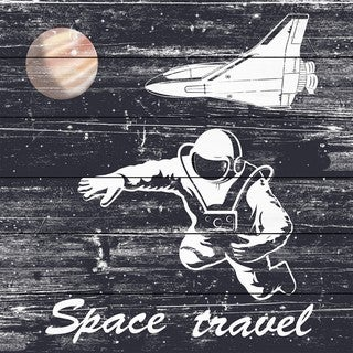 Marmont Hill - Handmade Space Travel I Painting Print on White Wood