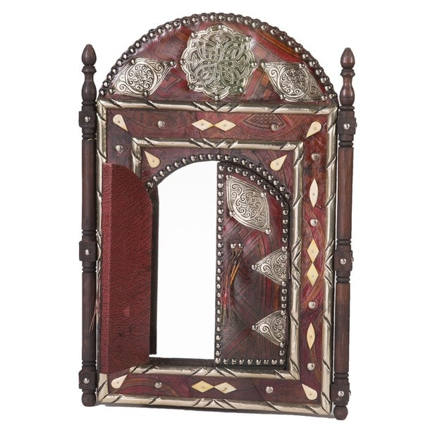 23 Moroccan Leather Mirror With Doors Brown