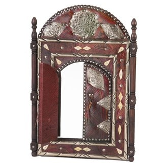 "23"" Moroccan Artisan Leather Mirror with Doors"