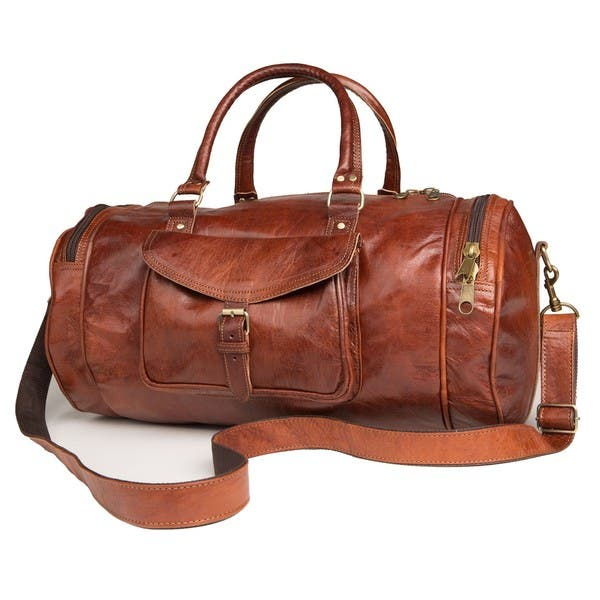 1e8a73ed3d58 Shop Handmade Round Moroccan Leather Duffel Bag (Morocco) - M - On ...