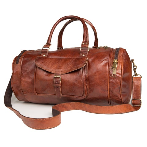 Handmade Round Moroccan Leather Duffel Bag - Tan (Morocco)
