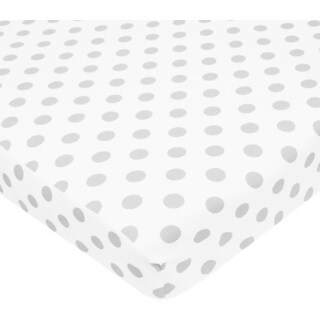 American Baby Company White and Grey Dot Cotton Percale PortaMini Crib Sheet