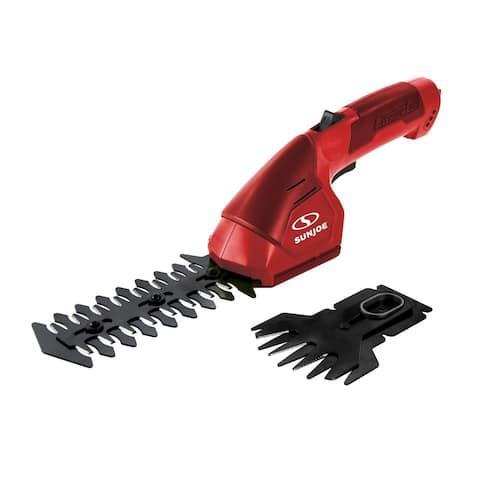 Sun Joe 7.2V Cordless 2-In-1 Grass Shear + Hedge Trimmer (Red)