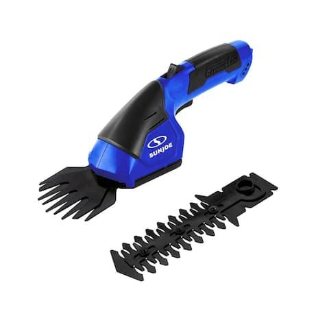 Sun Joe 7.2V Cordless 2-In-1 Grass Shear + Hedge Trimmer (Dark Blue)