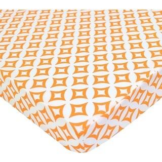 American Baby Company Orange Tweedle Dee Percale PortaMini Cotton Crib Sheet
