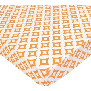 American Baby Company Orange Tweedle Dee Percale PortaMini Cotton Crib Sheet