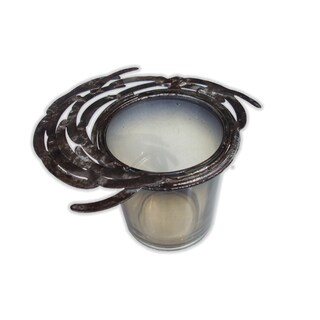 Burnt Topaz Iron Glass Votive Candle Holder