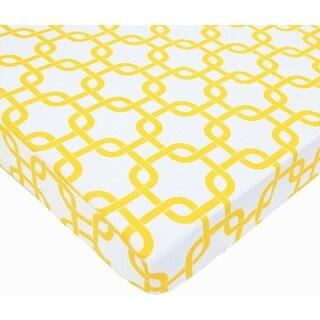 American Baby Company PortaMini Gotcha Golden Yellow Cotton Percale Crib Sheet