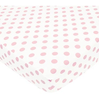 American Baby Company White and Pink Cotton Percale Crib Sheet
