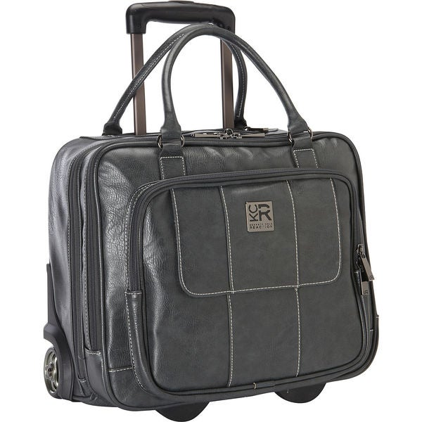 Kenneth Cole Reaction Pebbled Faux Leather Dual Compartment 2-wheeled 16-inch Laptop Carry-on Business Overnighter -  adult