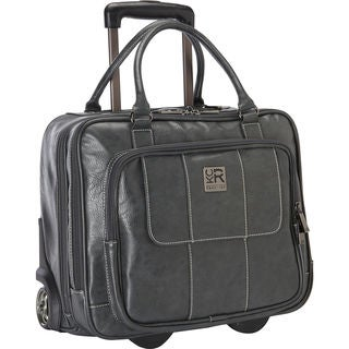 Kenneth Cole Reaction Pebbled Faux Leather Dual Compartment 2-wheeled 16-inch Laptop Carry-on Business Overnighter