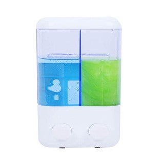White Plastic Double Suction Cup Mounted Soap Dispenser