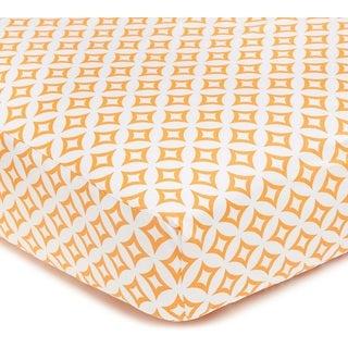 American Baby Company Orange Cotton Tweedle Dee Tile Cotton Percale Crib Sheet