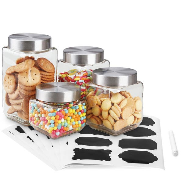 Shop Home Basics 8 Piece Glass Canisters Sets with Airtight ...