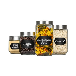 Home Basics 8 Piece Glass Canisters Sets with Airtight Lids and 56 Piece Reusable Chalkboard Labels
