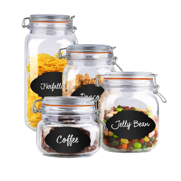 Home Basics 4 Piece Air Clamp Lid Gl Canister Set With 56 Reusable Chalkboard Labels