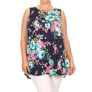 Women's Plus-size Floral Pattern Sleeveless Tank