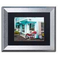 Yale Gurney 'Red Motorcycle' Matted Framed Art