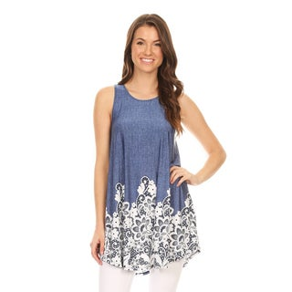 Women's Sleeveless Floral Denim Lace Tunic