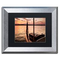 Jason Shaffer 'Chippewa Lake' Matted Framed Art - Brown